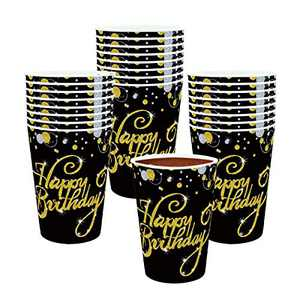 Trgowaul 50 Count 12 OZ Happy Birthday Paper Cups Gold Disposable Drink Cups with Happy Birthday Design for Men and Women Birthday Party Supplies