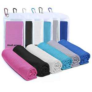 """Alsol Lamesa Cooling Towel (40""""x 12"""") Ice Sports Towel Cool Neck Towel Soft Breathable Chilly Towel Microfiber Towel for Gym Workout Fitness Yoga & Golf Camping & More Activities (6 Packs Mix-2)"""