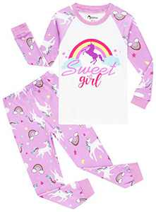 Little Girls Christmas Pajamas Schlool Rainbow Pjs Toddler Kids Sleepwear Long Sleeve Cotton Gift Set size 4
