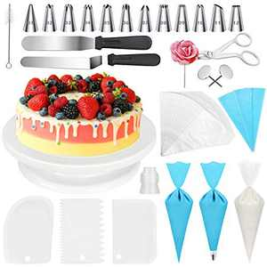 XAZIE Cake Decorating Kit, 75Pcs Cake Decorating Supplies with Cake Turntable, 12 Numbered Icing Tips, 2 Icing Spatula, 1 Icing Smoother, 2 Silicone Piping Bag, 50 Disposable Pastry Bags and 1 Coupler