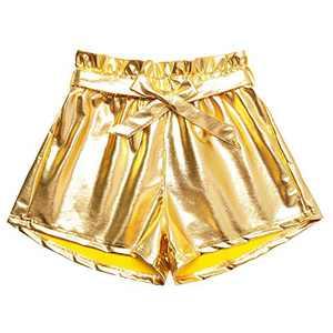 Perfashion Gold Shiny Short Tie Waist Neon Metallic Spandex Short Pocket Sparkle Disco Pant