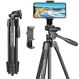 Mactrem 53 Inch Tripod for iPhone, Lightweight Aluminum Travel Cell Phone/Ipad/Camera Tripod Stand with Carry Bag, Selfie Stick Tripod, Load 4.4 LB, Weight 1.3LB (Black)