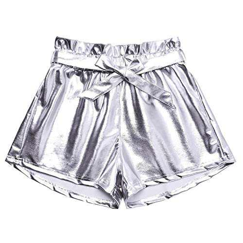 Metallic Pink Shorts Rave Outfits for Women Disco Dance Shorts Festival Clothes