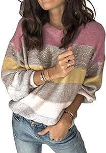 Margrine Women's Sweaters Casual Long Sleeve Crewneck Color Block Patckwork Pullover Sweater Topss Yellow 2MA57-zihuang-XL