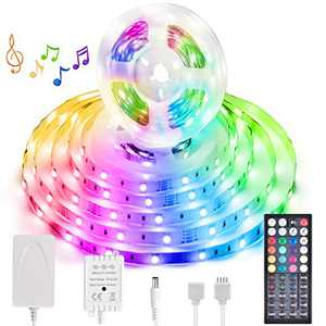 Music Sync LED Strip Light 40FT RGB Color Changing Dimmable LED Strip Lights Kits with 44 Key RF Remote (40FT)