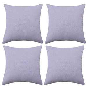 Deconovo Throw Pillow Cover24x24, Lilac Halloween Pillowcase, Linen Couch Cushion Covers with Invisible Zipper for Living Room Sofa Pillow(24 x 24 Inch, Pastel Purple, Set of 4, No Pillow Insert)