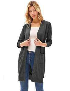 Women's Long Sleeve Button Up V Neck Knit Cardigan Outwear Dark Gray M