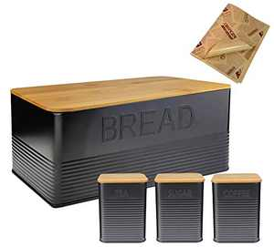 upra Black Large Bread Holder With Eco Bamboo Cutting Board Lid, Set of 4 kitchen Counter Organizer, Black Farmhouse Vintage Old Fashion Industrialized Bread Coffee Sugar Tea Boxes/Bins