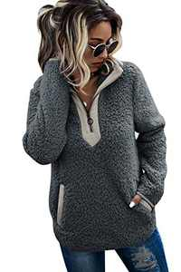 AQOTHES Womens Loose Casual Zipper Sherpa Fleece Pockets Pullover Sweatshirt Outwear Dark Grey