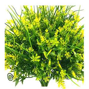 Guagb 6 Bundles Artificial Flowers Outdoor UV Resistant Fake Plastic Plants Outside Indoor Faux Greenery Shrubs Arrangement for Home Porch Window Vase Decoration (Yellow)