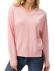 Women's V-Neck Long Sleeve Side Split Loose Casual Knit Pullover Sweater Pink S