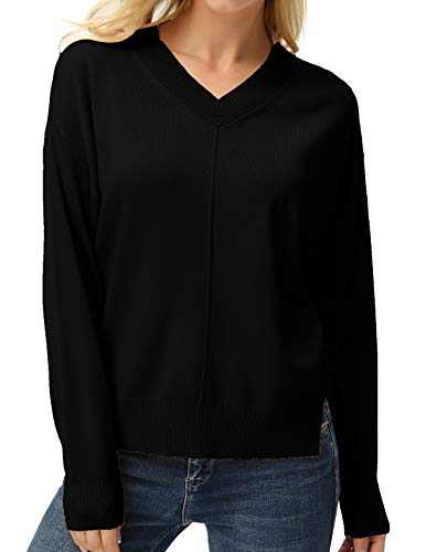 GRACE KARIN Womens Lightweight Baggy Loose V-Neck Knit Sweaters Pullovers Black S
