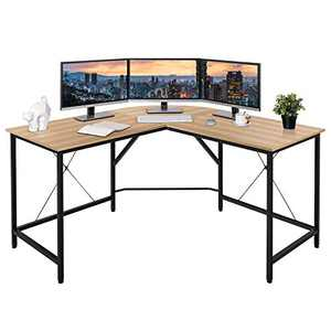 """BAHOM 55"""" L-Shaped Computer Desk, Round Corner Home Gaming Desk, Office Writing Workstation, Space-Saving, Easy to Assemble (Wood)"""