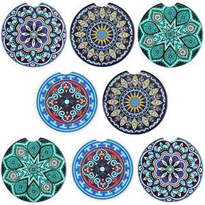 8 Pieces Car Coasters Absorbent Mandala Ceramic Coasters Drink Coasters Practical Car Cup Holder Coaster with Cork Backing for Cars, Dining Table Use