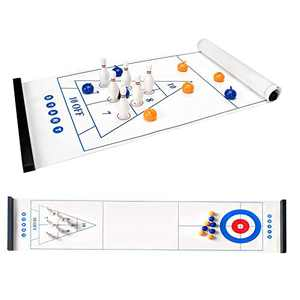 Jhua 3 in 1 Tabletop Curling Bowling Shuffleboard Game Set for Family Adults Kids Portable Tabletop Game Set with Curling, Pin Bowling and Shuffleboard Educational Table Games for Indoor Office Sports