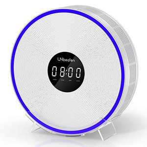 UNbeaten Air Purifiers for Home Bedroom with H13 True HEPA Filters, Clock with Night Light, Space up to 200 Sq Ft, Reduce Dust Smoke Pollen for Office, Ferris 360 White