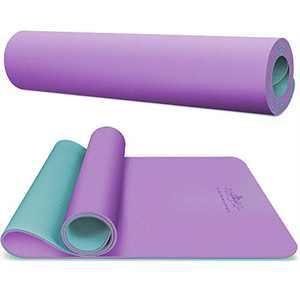 "Hatha yoga PRO TPE Yoga Mat - 72""x 27"" x 1/4 inch -Eco Friendly SGS Certified -Non Slip Bolster for Men Women Home Gym, Pilates & Floor Outdoor Exercises(Purple/Green)…"