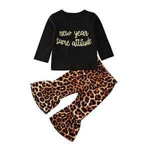 Baby Girl Clothes Black Shirt Hoodies Tops +Leopard Bell-Bottom Pants Set for 0-3T Girls (18-24 Months, 03#)