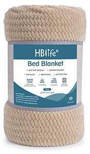 "HBlife Microfiber Luxury Flannel Fleece Throw Blanket, Super Soft & Cozy Waffle Weave Pattern Plush Blanket, 50"" x 70"" Camel"