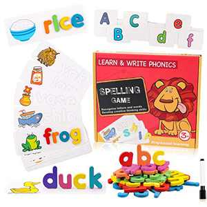 EHO Preschool Learning Toys for Toddlers 1-3 ABC Flash Cards for Kids Ages 4-8, Xmas Gifts Alphabet Puzzle for Toddlers Blocks Montessori Toys for Toddlers Educational Toys for 3 Year Old Wooden,Red