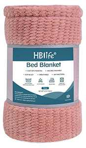 "HBlife Microfiber Luxury Flannel Fleece Throw Blanket, Super Soft & Cozy Waffle Weave Pattern Plush Blanket, 50"" x 70"" Pink"