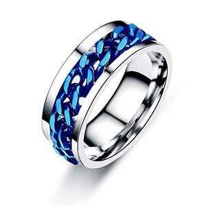 Juztec Spinner Ring for Men Women Fashion Ring Stainless Steel Ring Cool Titanium Ring for Men Women Beer Bottle Opener Chain Rings(Blue 10)