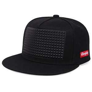 Pure Cotton Men's Hat Hip Hop Baseball Cap Punk Rock Snapback Cap Adjustable Flat Cap (Black)