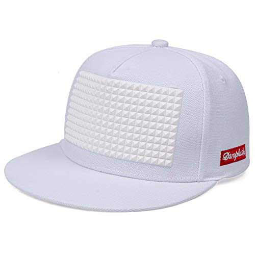 Pure Cotton Men's Hat Hip Hop Baseball Cap Punk Rock Snapback Cap Adjustable Flat Cap (White)