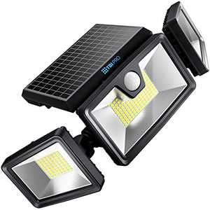 TBI Security Solar Lights Outdoor 216 LED 2200LM, 6500K, 7W - Extra-Wide Adjustable 360° 3 Heads with 3 Modes, Wireless Motion Sensor 40ft - Waterproof IP65 Spot Flood Lights Solar Powered 2200mah