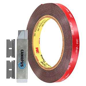 CANOPUS 06384 Automotive Acrylic Plus Attachment Tape, Black, 0.5in x 15ft, Double Sided Tape, Heavy Duty, Made in USA