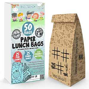NIL Tech Paper Lunch Bags 50 pcs - Gift your kids a smile, printed fun games and jokes on each bag. Safe, ECO friendly for lunch and snack.