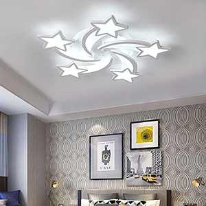 Qcyuui Creative LED Ceiling Light, Modern Flush Mount Lighting Fixtures with Star Shape, 60W Ceiling Lamp Non Dimmable for Living Room Children Bedroom, White/6000K
