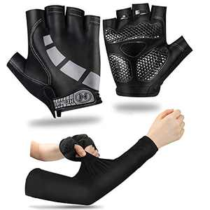 Cycling Gloves Half Finger Biking Gloves for Men Women,Workout Gloves for Running Cycling Trainning Shock Absorbing Gloves with Safety Reflective Bar for Night Road Riding with Cooling Sleeves