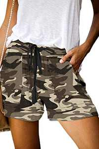 KISSMODA Women's Casual Elastic Waist Summer Pocketed Shorts Jersey Walking Shorts Camo