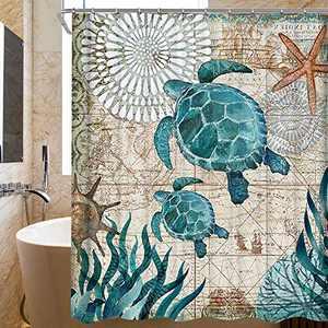 "Supzone Bathroom Shower Curtain Sea Turtle Waterproof Fabric Ocean Teal Sea Creature Landscape Curtains Polyester Bathroom Curtain with Hooks 72"" X 72"""