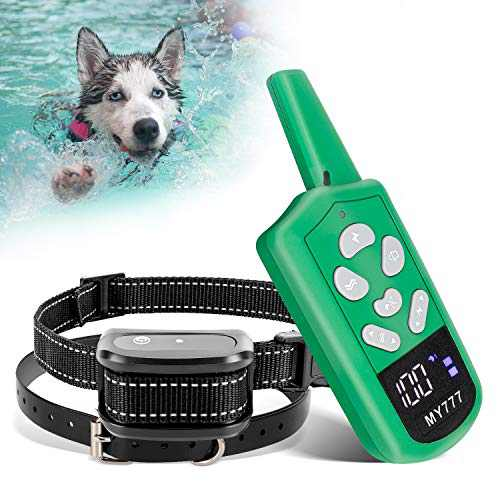 Shock Collar for Dogs - Dog Training Collar with Remote for Dogs Large,Medium,Small- Correction Collar with 3 Training Modes, Beep,Vibration Up to 1800ft Remote Range and 1-100 Training Levels Green
