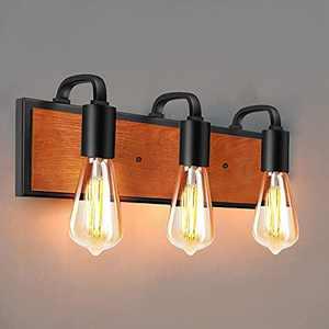 3-Light Bathroom Vanity Light, Industrial Wall Sconce Lighting, Vintage Wall Light Fixture Farmhouse Bath Vanity Light for Mirror Bedroom (E26 Base)