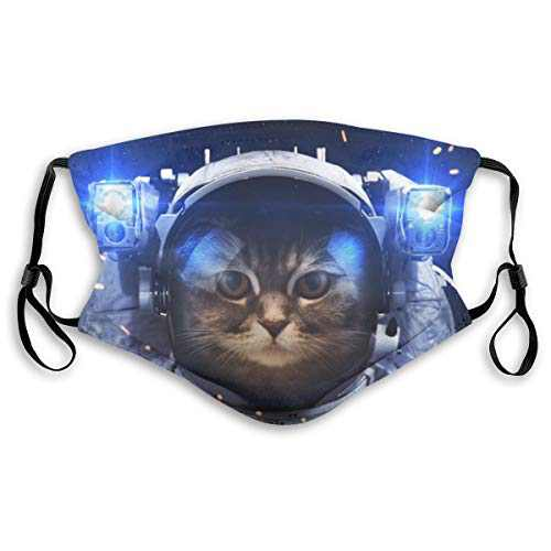Men's Women's Face Protective Balaclava Mouth Cover with 2 Filter Windproof Dustproof Adjustable Mask Elastic Strap Astronaut Cat in Space