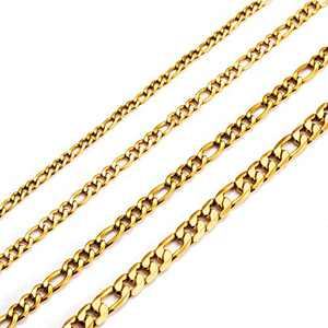 MEMGIFT Birthday Gifts for Women Boys 18K Real Gold Plated 26 Inches Figaro Chain Choker Necklace Width 3MM Simple Stainless Steel Figaro Link Chain for Men Women Teen Girls Best Friend Sister