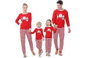 Benaive Family Xmas Pajamas Set Boys Girls Holiday Pjs Women Men Sleepwear (Red, Santa, Elk, Women-XS)