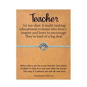Back to School Gifts, Tree of Life Bracelets First Day of School Blue String Bracelet for Teacher, Handmade Disc Tree Charm Bracelets Adjustable Waxed Cord Wish Bracelet for Her