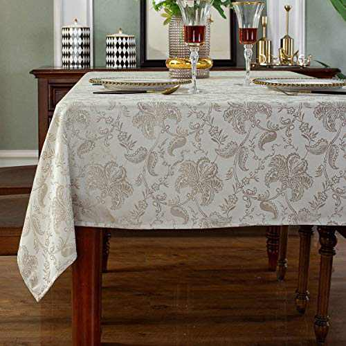 """SASTYBALE Table Cloths Rectangle Jacquard Polyester Tablecloth Spill Proof Wrinkle Resistant Table Cover for Kitchen Dining Parties Tabletop(Rectangle/Oblong, 52"""" x 70"""" (4-6 Seats),Platinum)"""
