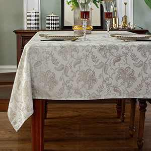 "SASTYBALE Table Cloths Rectangle Jacquard Polyester Tablecloth Spill Proof Wrinkle Resistant Table Cover for Kitchen Dining Parties Tabletop(Rectangle/Oblong, 52"" x 70"" (4-6 Seats),Platinum)"