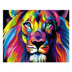 DIY 5D Animal Diamond Painting Kits for Adult Painting by Number Kit Round Drill Embroidery Cross Stitch Lion Diamond Painting Set for Home Wall Decor