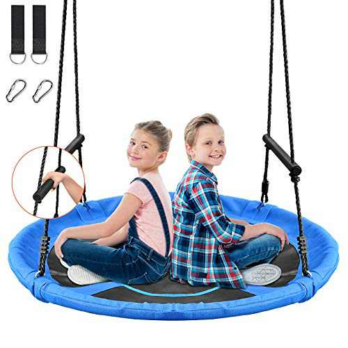 Treeswin Saucer Tree Swing 46 Inch, 800 lb Weight Capacity Outdoor Flying Swing with Tree Strap, Textliene Fabric Waterproof Durable Steel Frame and Carabiner for Playground and Backyard (Blue)