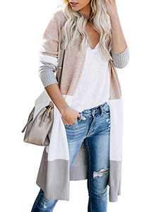 Womens Soft Boho Open Front Colorblock Cardigan Long Sleeve Loose Cute Knit Sweaters Khaki XXL