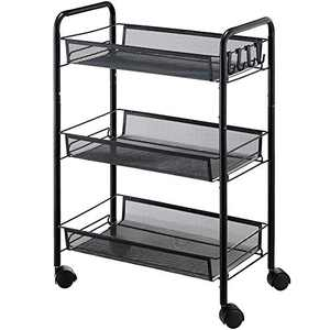 IHAYNER 3-Tier Rolling Utility Cart Storage Shelves Multifunction Metal Mesh Baskets Pantry Cart with Lockable Wheels