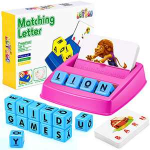 Educational Toys for 3-8 Year Old Boys Girls, Matching Letter Game for Kids Gifts for 3-8 Year Old Boys Girls Learning Toys Age 3-8 Preschool Birthday Xmas Gifts Stocking Stuffers, Rose Red