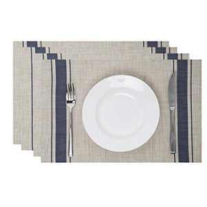 Leetaltree Placemats, 18''x12'' Vinyl Woven Insulation Anti-Skid Placemat Washable Table Mats Set (Khaki-Blue 4Pcs)