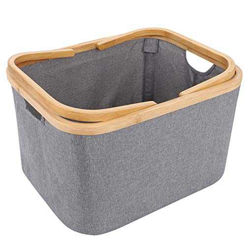 HOKEMP Bamboo Laundry Baskets with Dual Built in Handles, Built Detachable Brackets , Linen Laundry Hampers for Bathroom, Bedroom, Home, Toys and Clothing Organization (Grey portable)